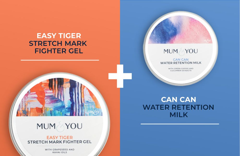 Stretch mark fighter gel and water retention milk