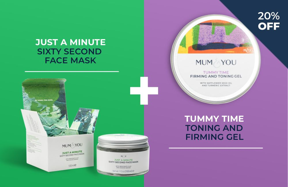 Beauty treatment with face mask and tummy toning and firming gel